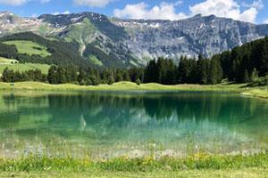 Paysage de Megève en Haute Savoie : vue sur la montagne